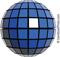 globale, sfera, design.