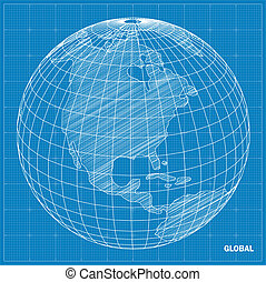 globale, sfera, vettore, blueprint.