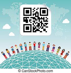 globale, sociale, media, rete, intorno mondo