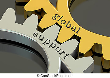 globale, sostegno, concetto, su, il, gearwheels, 3d, interpretazione