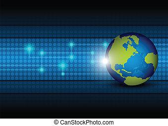 globale, tecnologia, rete, fondo