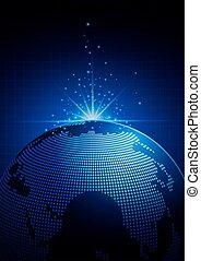 globale, tecnologia, sfondo blu