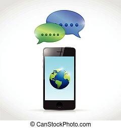 globale, telefon, begreb, illustration, kommunikation