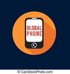 globale, telefono, vettore, disegno, appartamento