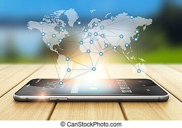 globale, trådløs kommunikation, og, sociale, netværk, begreb