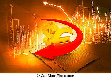 globale, valute, freccia, affari