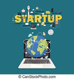 globale verbinding, concept, start, netwerk