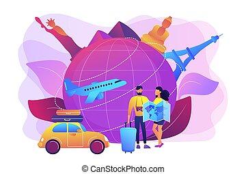 globale, viaggiante, concetto, illustration., vettore