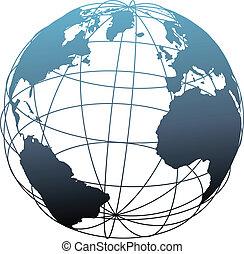 globale, wireframe, latitudine, atlantico, globo terra
