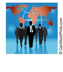 globale zaak, mensen, team, wereldkaart, achtergrond