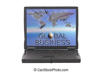 globale zaak, wereldkaart, op, draagbare computer, scherm