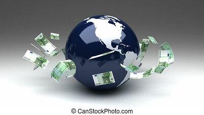 globales geschäft, mit, euro