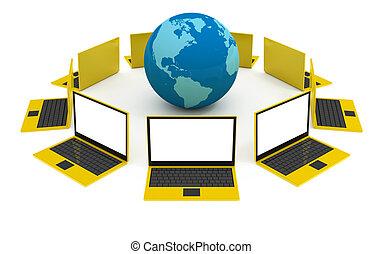 globalisatie, concept, internet