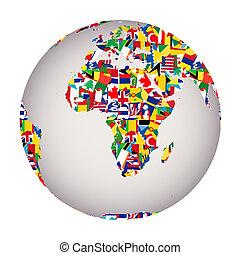 globalisatie, concept, met, aardebol, en, alles, vlaggen