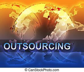 globalisatie, outsourcing, illustratie