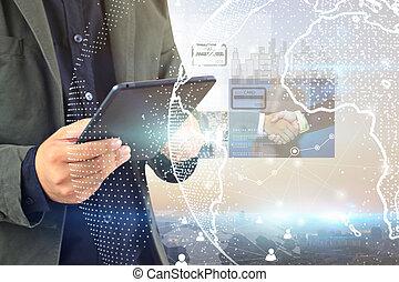 globalisatie, zakelijk, communication., handel wasdom, concept
