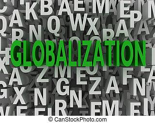 globalisation, concept, mot, nuage, 3d