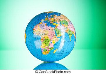 globalisation, fogalom, -, földgolyó, ellen, gradiens, színes, háttér