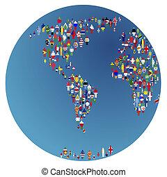 globalisation, obsypać kulę, z, ludzie, robiony, od, puchnie świata