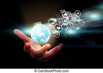 globalisierung, concept., geschaeftswelt