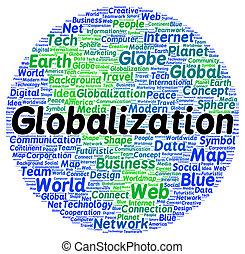globalisierung, wort, form, wolke