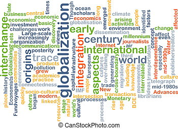 globalização, conceito, wordcloud, ilustração