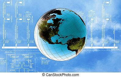 globalização, conexão, internet, technology.