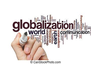 globalização, palavra, nuvem
