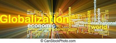globalização, wordcloud, glowing