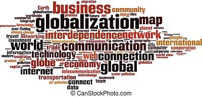 globalización, palabra, nube