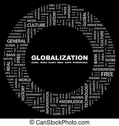 GLOBALIZATION. Concept illustration. Graphic tag collection...