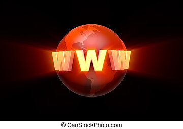 Globalization. Creation and promotion of the website. 3D illustration rendering.