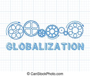 Globalization Graph Paper - Globalization text with gear...