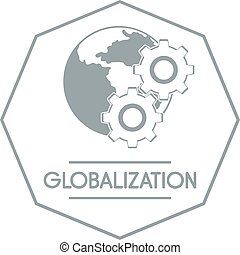 Globalization logo, simple gray style