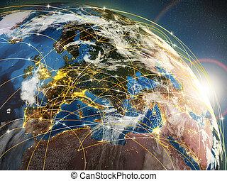 globalization, vagy, kommunikáció, concept., földdel feltölt, és, fénylő, küllők