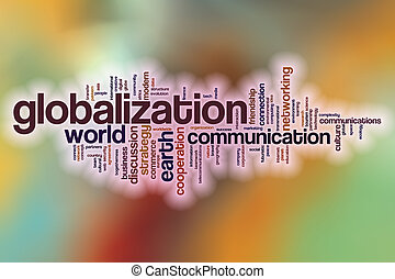 Globalization word cloud with abstract background