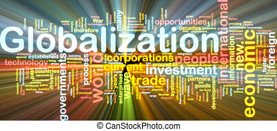 Globalization wordcloud glowing