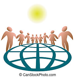Globally Connected People - Nine globally connected symbol...