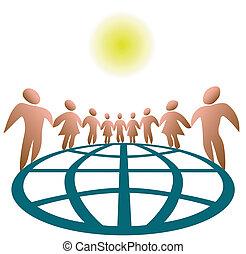 globalmente, conectado, pessoas
