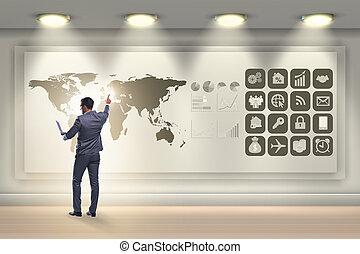 globalny, biznesmen, pojęcie, handlowy