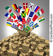 globalny, doręczenie, okrętowy