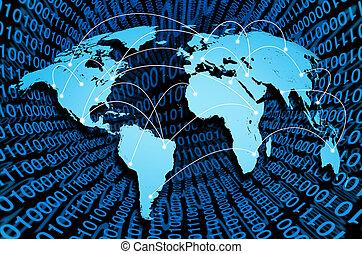 globalny, internet, z, cyfrowy, stosunek