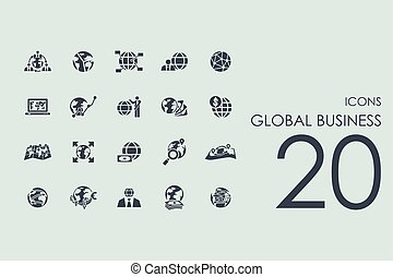 globalny, komplet, handlowe ikony
