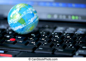 globalny, komputer, handlowy, internet