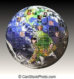 globalny, ludzie, sieć