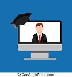 globalny, online, lekcja, wykształcenie, nauczyciel, człowiek