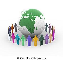 globalny, pojęcie, rozmaitość, 3d, wieś