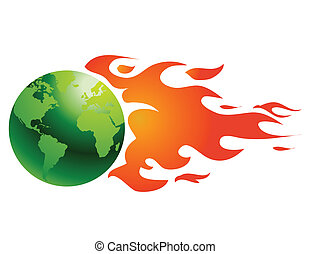 globe, à, flammes