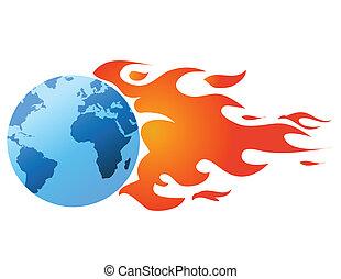 globe, à, flammes, vecteur