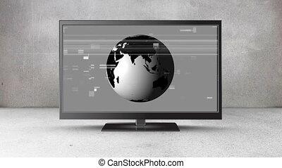 globe, écran, tã©lã©viseur, plat, tourner, sien